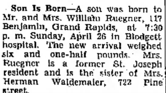 Ruegner1 - Son Is Born--A son was born Mr. and Mrs....