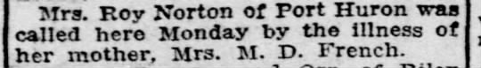 Illness - Mrs. Roy Norton of Port Huron was called here...