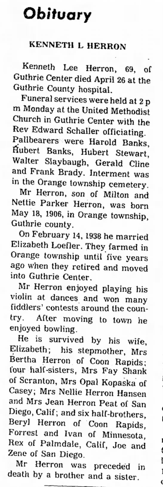 Obit: Kenneth L Herron May 1975 in Bayard News pg 3