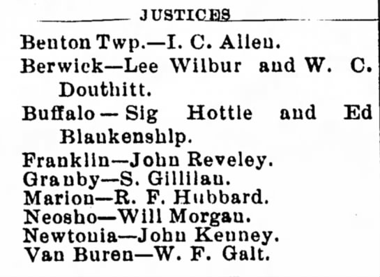 W. C. Douthitt Justice of the Peace Nov. 16, 1916 - JUSTICML Benton Twp.—I. C. Alleu. Berwick—Lee...