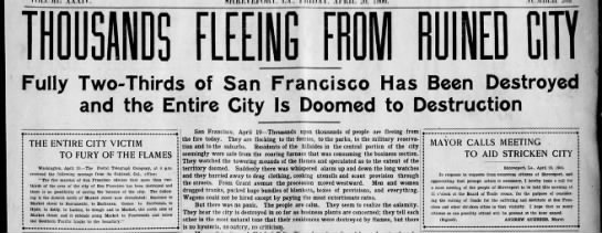 Thousands flee San Francisco due to 1906 earthquake and fires - fi 0 0 p u lLi ffl y I Fully Two-Thirds...