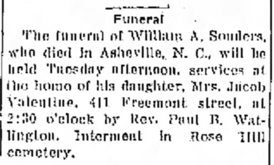 Funeral of William A Souders - h - ; Iirntbcr, jwo a l - , mor Funeral Tho f u...