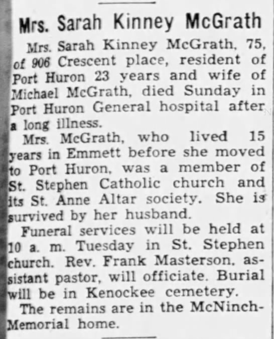 Sarah Kinney Mcgrath November 1940 death notice.  Husband Michael O Mcgrath - i J Mrs. Sarah Kinney McGrath mm Sarah Kinney...