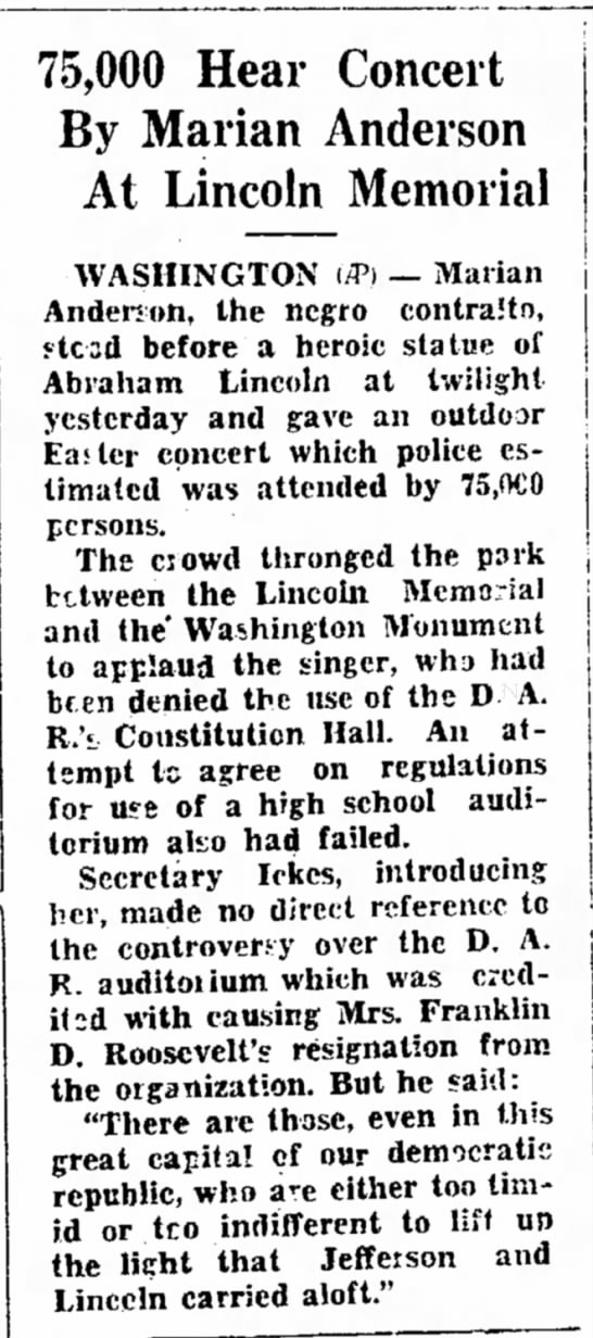 Marian Anderson sings at Lincoln Memorial - On 75,000 Hear Concert By Marian Anderson At...