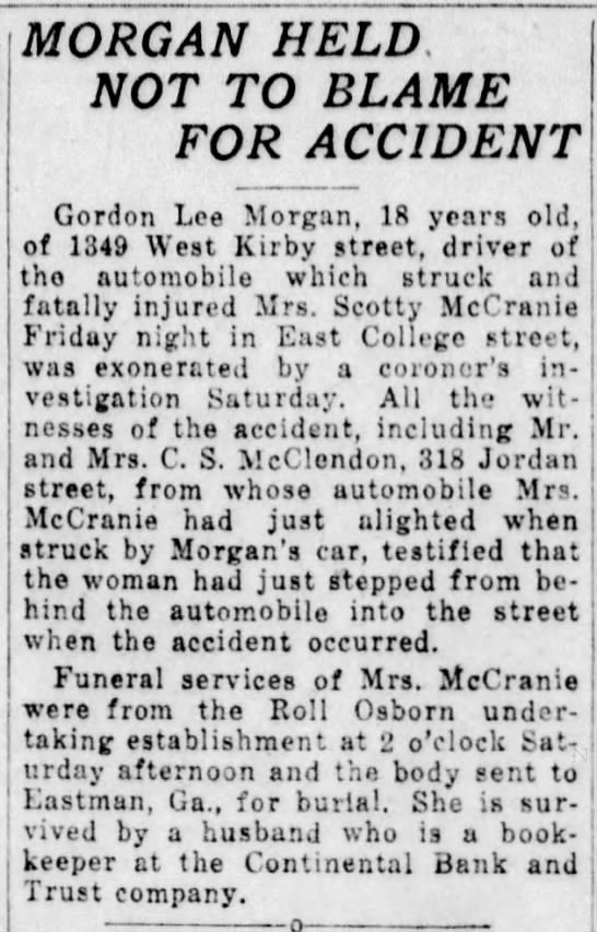 Eugenia Edwards McCranie - Death Ruled an Unavoidable Accident - Dec1923 - MORGAN HELD, NOT TO BLAME FOR ACCIDENT Gordon...