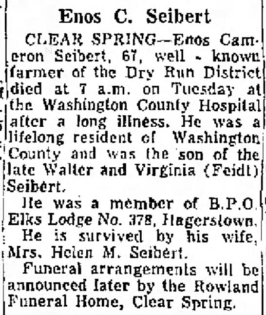 Enos C. SeibertDaily Mail 15 Jun 1965 - evening o! Washington h c and e Enos C. Seibert...