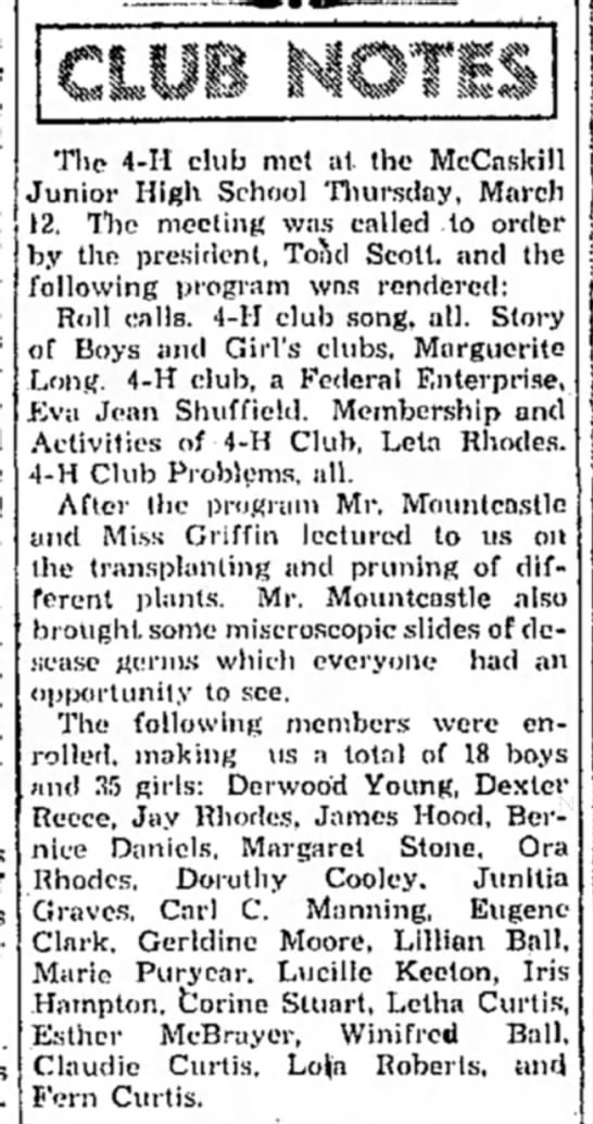 Derwood Young_Hope Star, AR_3-16-1936 - The 4-H club met at the McCaskill Junior High...