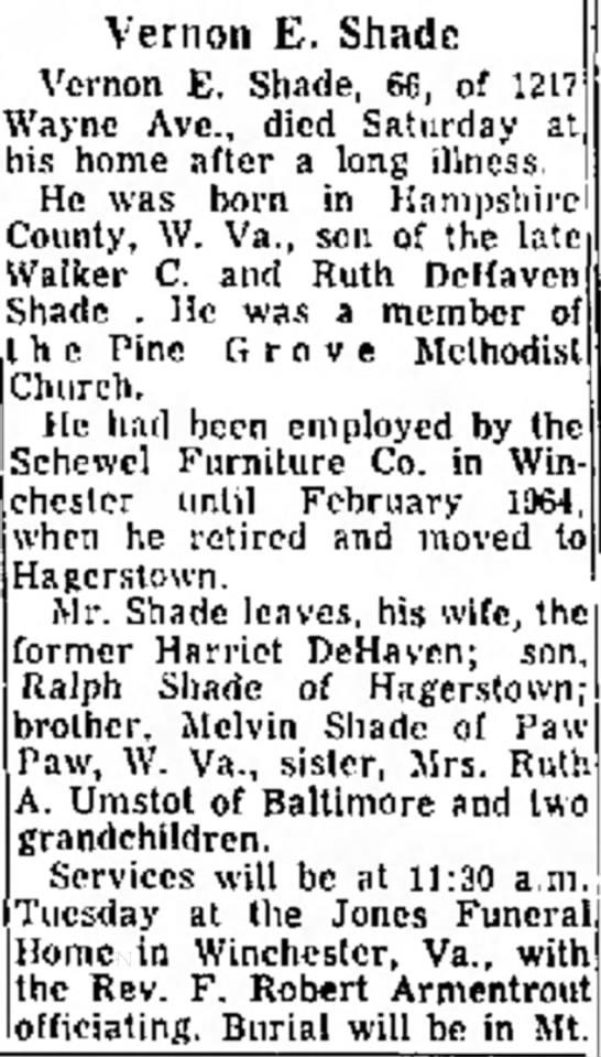 Vernon Earl Shade Obituary - G , W. Va. Mrs. William Vernon E. Shade Vcrnon...