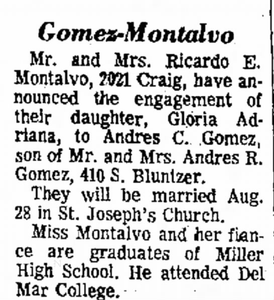 Ricardo Montalvo & Gloria Adriana Montalvo - to Mr. married United of graduate. College....