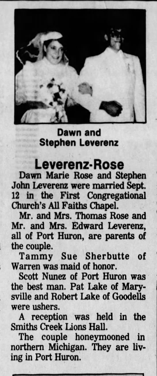 The Times Herald - Wedding announcement - Dawn and - Stephen Leverenz Leverenz-Rose...