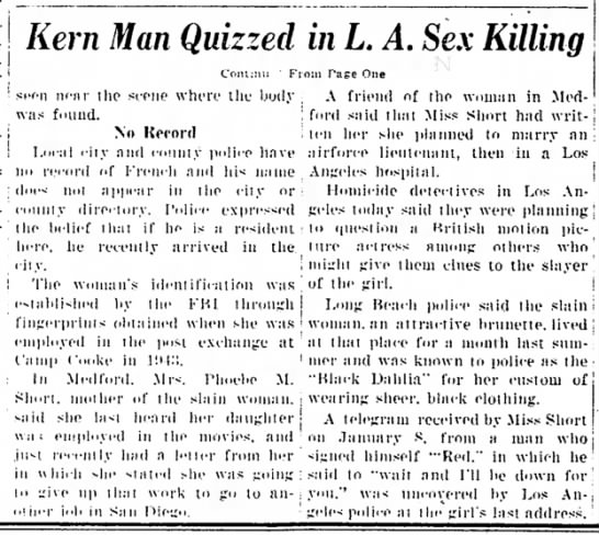 Black Dahlia part 2.5 - Kern Man Quizzed in L. A. Sex Killing C'om:!i!i...