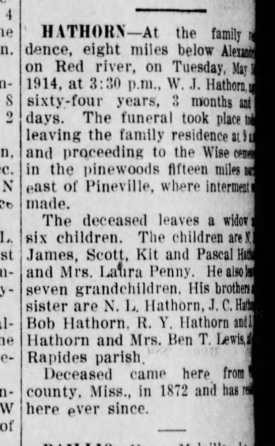 WJ Hathorn's obit - 4 S 2 N L. Clumey-ville. of II ATHORN At the...