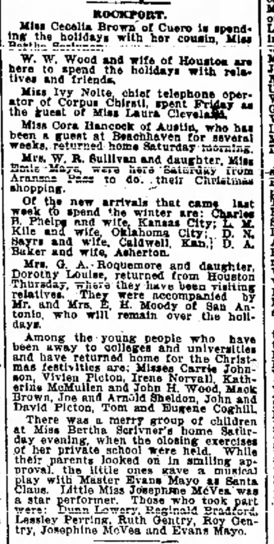 Sheldons home in Rport for holidays 1910 - ot guest* Lake C, of Baylor the Ef- parties....