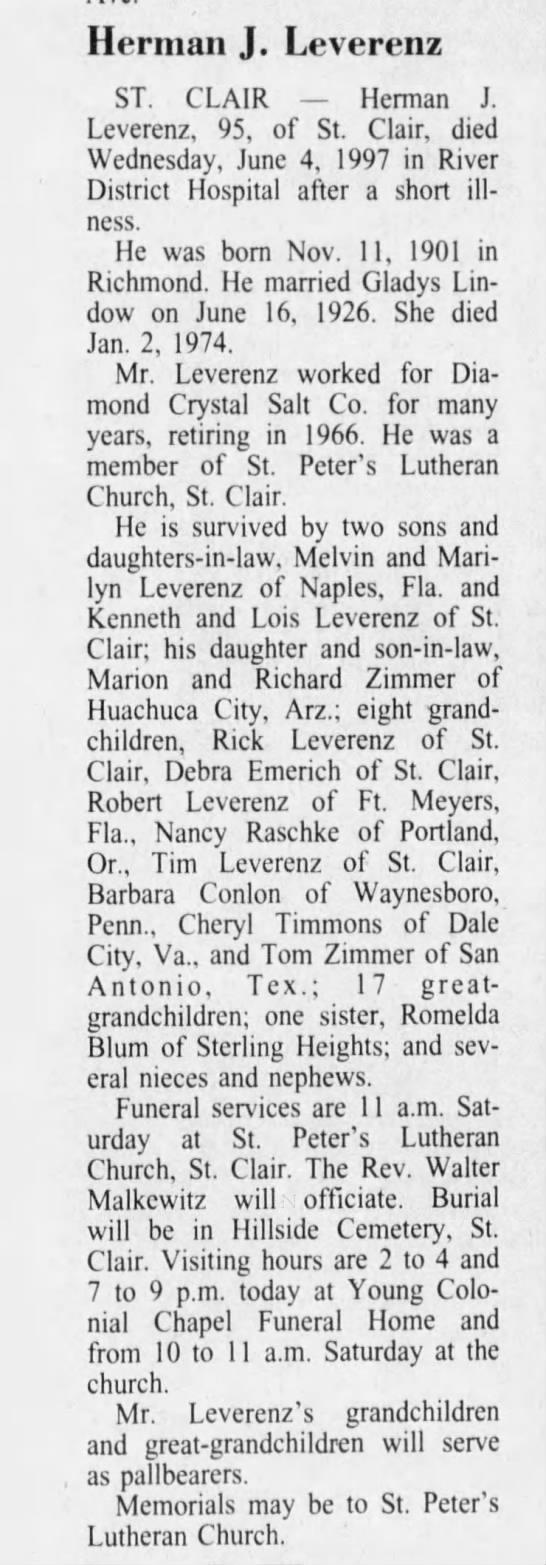Obituary for Herman Leverenz Jr. - Herman J. Leverenz ST. CLAIR Herman J....