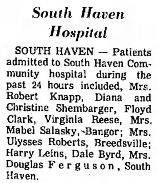 Dale Byrd admitted to hospital - of 1533 it South Haven Hospital SOUTH HAVEN --...