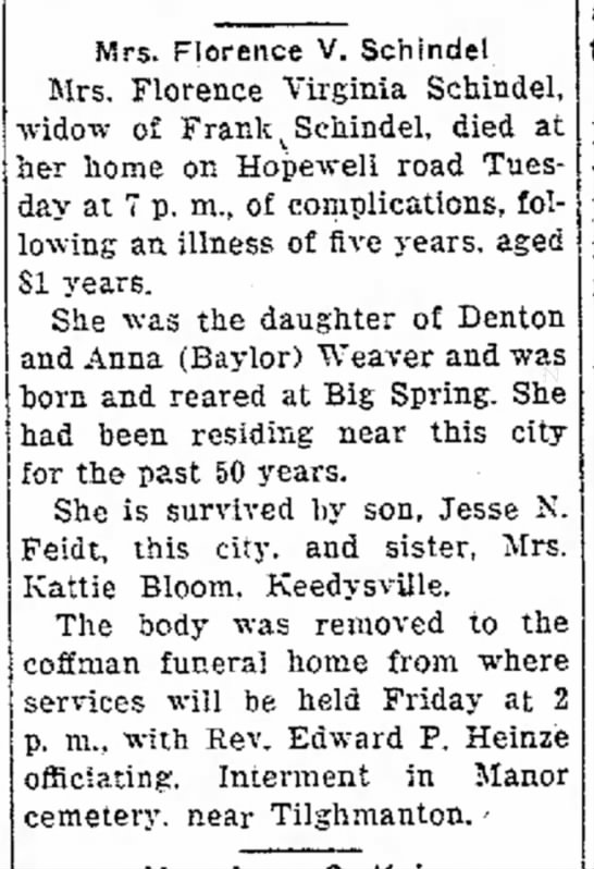 Forence V. Weaver Feidt Schindel obit