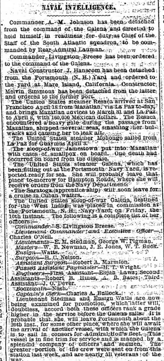 Edward M. Stedman on Galena The New York Times 20 Apr 1869 - to . : : Johrisoa h frotB the epnimahd of i...