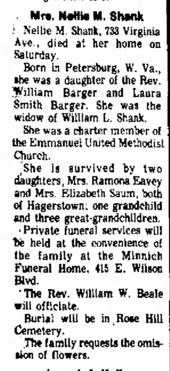 Shank, Nellie M - obit - Mon, 5 Jan 1976, Daily Mail, Hagerstown, MD - Mr*. NÂ«Hto M. Shank ': Nellie M. Shank, 733...