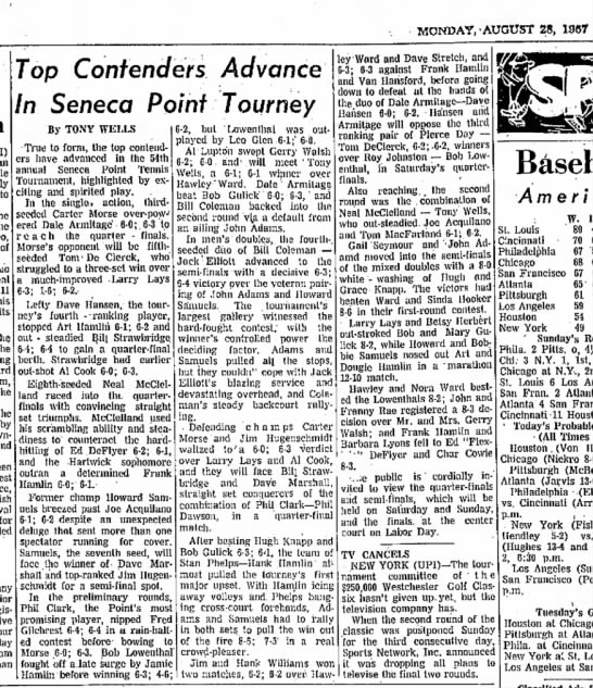 Seneca Point Tournament 1967 - MONDAY,'AUGUST 28, 1957 only to win the of 11...