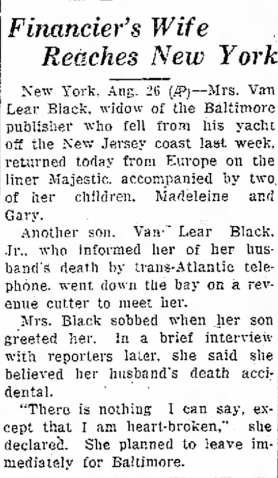 Mrs. Van-Lear Black learns of Van-Lear Black's death. - Financier's Wife Reaches New York New York,...