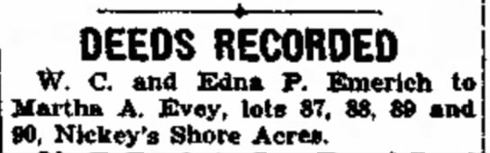 EVEY, MARTHA nee PARR - start. and in DEEDS RECORDED W. C. and Edna P....