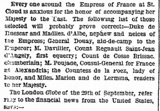 Count de Cosse Brissac, 1869, new york herald - Every one around the Empress of Prance at Cloud...