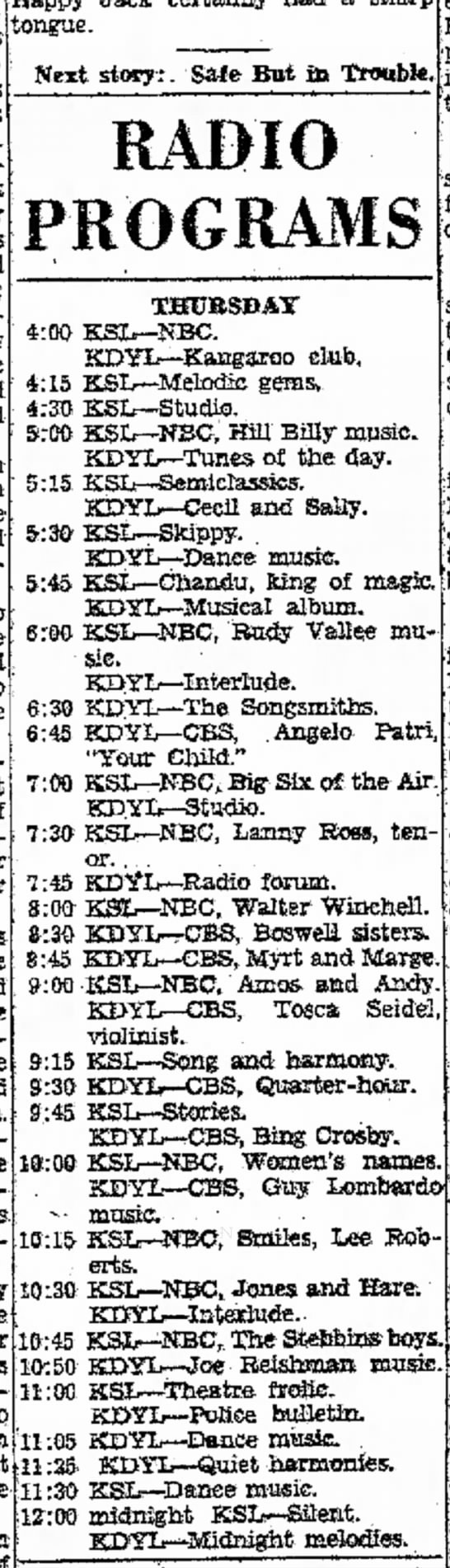 1931 KSL Radio Program schedule - I* However, worm pick gets frequently Itch with...