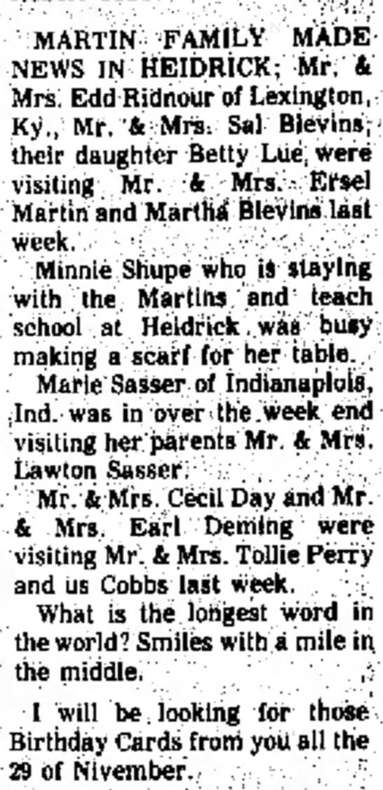 Swafford fille Minnie Shupe 24 Oct 1971 - who The of MARTIN FAMILY MADE NEWS IN HEIDRICK;...