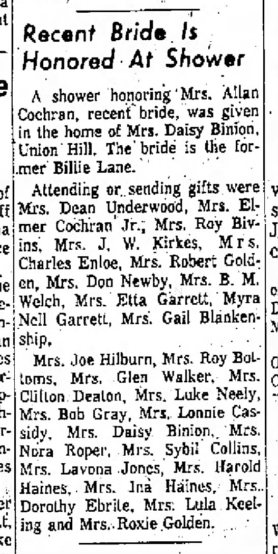 Lane_Billie-1962_06_28-The_Ada_Weekly_News-Ada_Oklahoma - of Roff Recent Bride. /$ · Honored At Shower A...