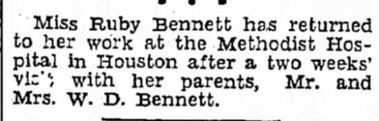 Miss Ruby Bennett Aug 30, 1931 Brownsville Herald - Miss Ruby Bennett has returned to her work at...