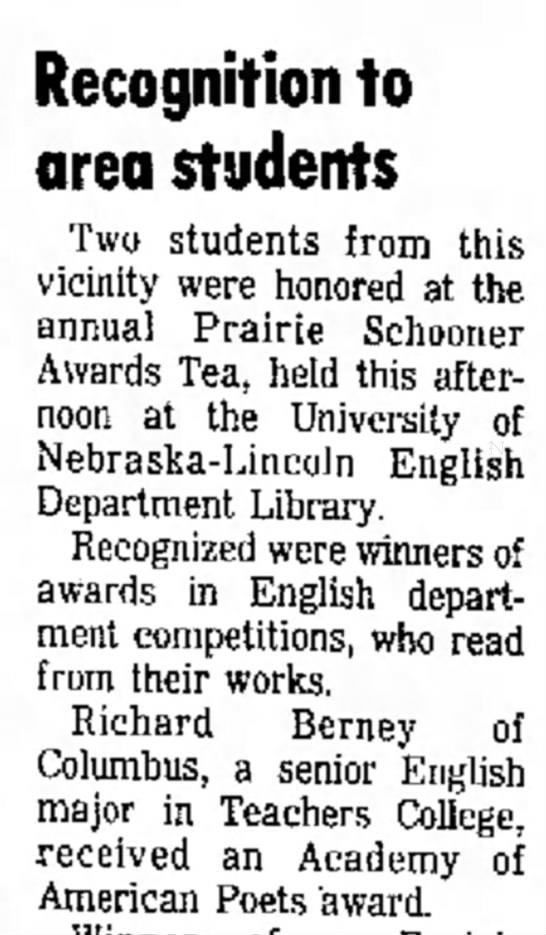 Richard Berney 5 may 1975 - the no on dog Recognition to area students Two...