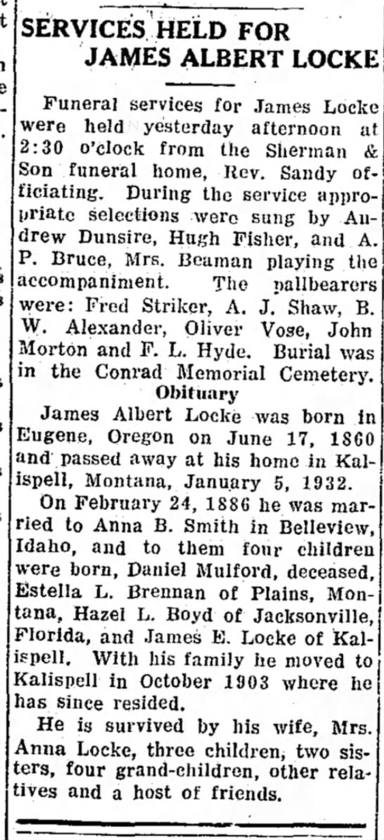 James A Locke newspaper burial notice & obituary - % SERVICES HELD FOR JAMES ALBERT LOCKE 2:30...