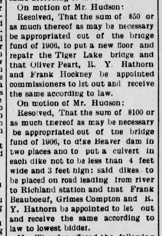 Frank Beauboeuf, Grimes Compton & RY Hathorn will receive money for river improvements. - On motion of Mr, nudson: Resolved, That the sum...