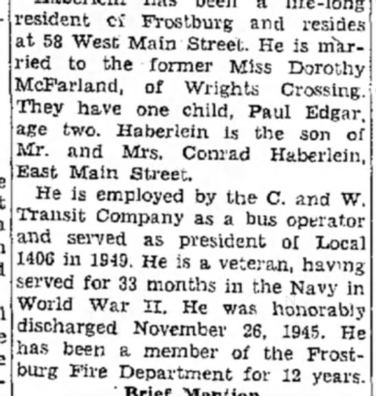 March 22 1950 - resident ci Frostburg and resides at 58 West...
