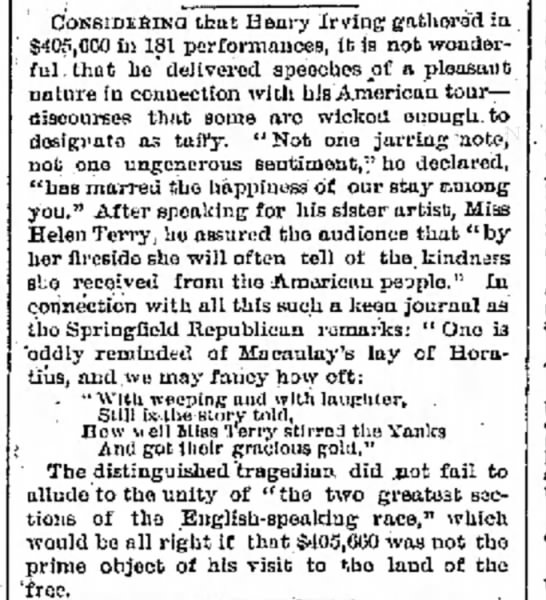 Re Helen Terry Performance, Galveston Daily News 6 May 1884