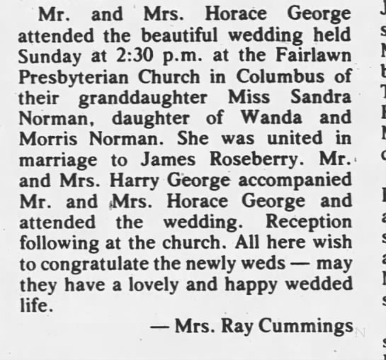 Sandra Norman. Marriage to James Roseberry. - Mr. and ' Mrs. Horace George attended the...