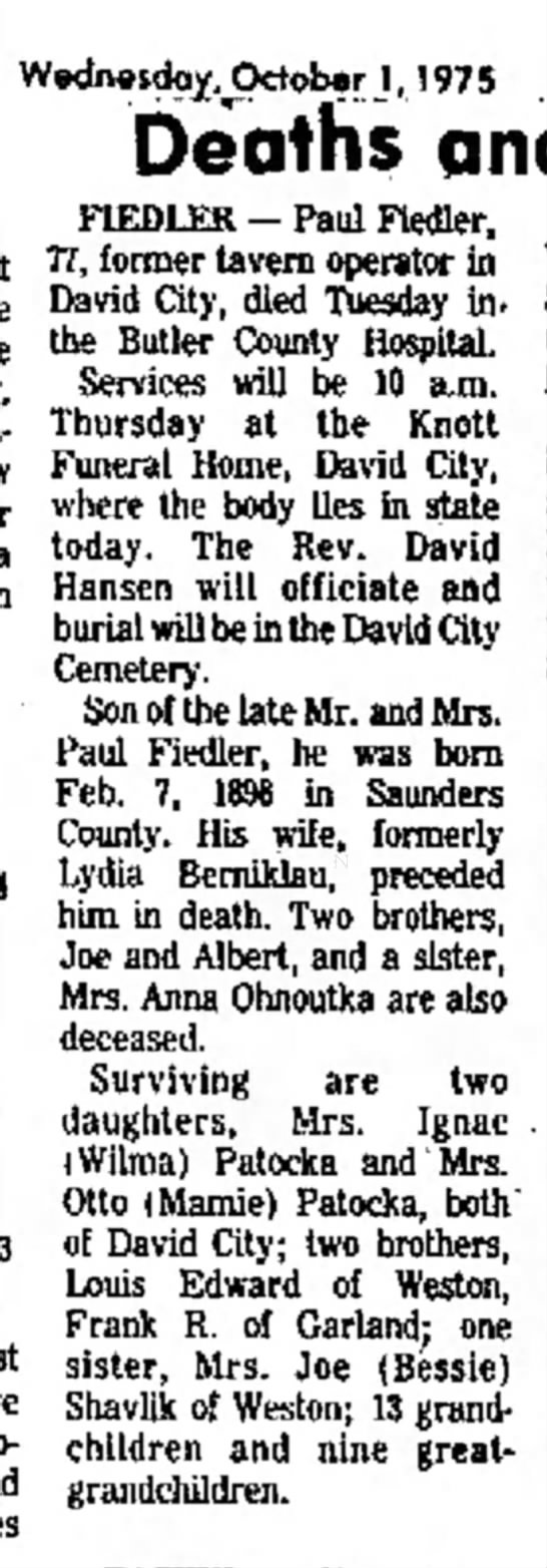 Paul Fiedler obituary - were home New other visit a on have two- and...