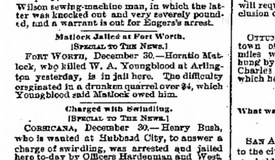 Horatio Matlock arrested - TVilson sewing-machine man, in which the latter...