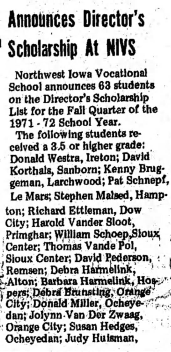 The Sioux County Index Hull, Iowa Saturday, October 16, 1971 p 2 - n- i i AHnOlH1C8S DireCtOf S Scholarship At...