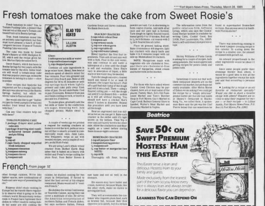 Ruth Fodal Cracker Recipe March 1985 - 3E Fresh tomatoes make the cake from Sweet...