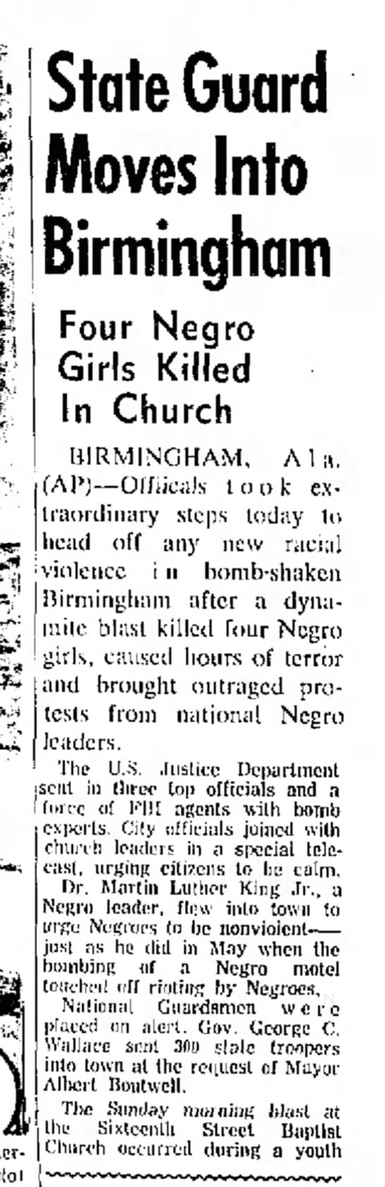 - State Guard Moves Into Birmingham Four Negro...