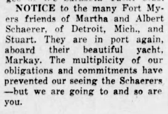 - NOTICE to the many Fort Myers friends of Martha...