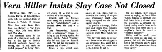 The Hutchinson News Sept 3, 1971 Pamela Yulich slaying, Richard Jones Murder case - Vern Miller Insists Slay Case Not Closed...