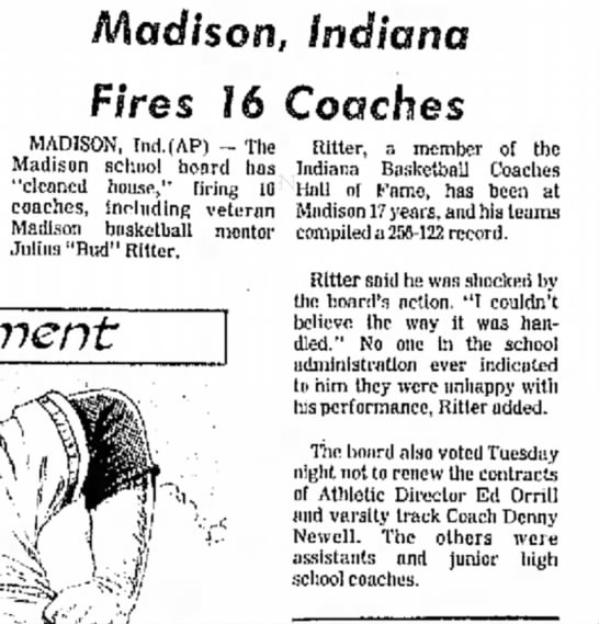 Edward Morris Orrill fired - a Cub- RBI Madison, Indiana Fires 16 Coaches...