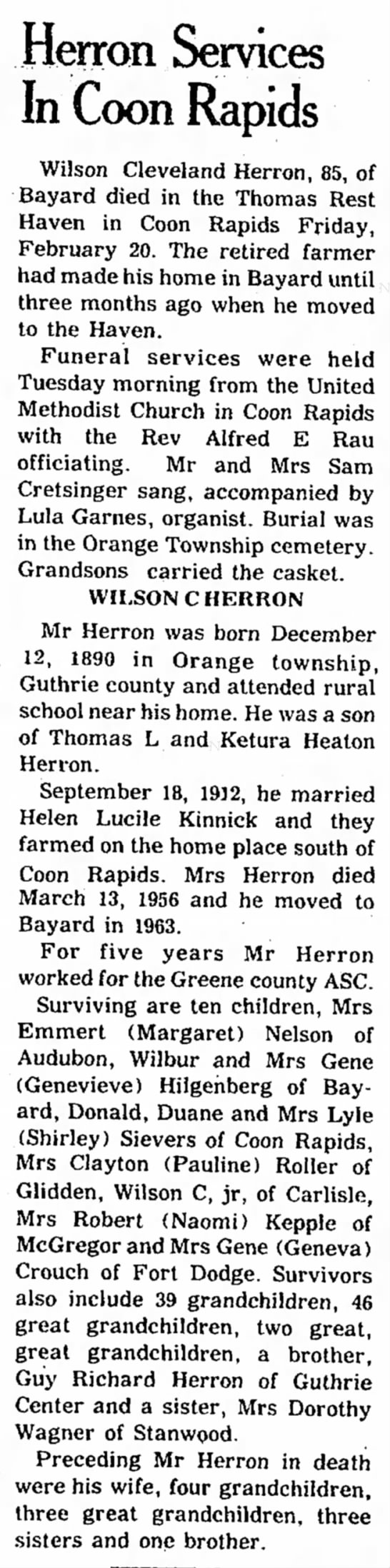 Obit of Wilson C Herron, The Bayard News (Bayard Iowa) 26 Feb 1976 - in. been a He Des the the the a of the Herron...