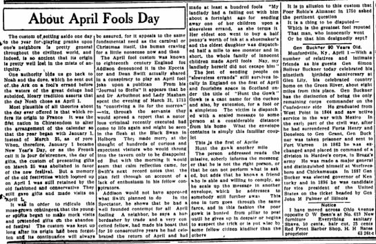 About April Fools Day in Texas - About April Fools Day Tbe custom offsetting...