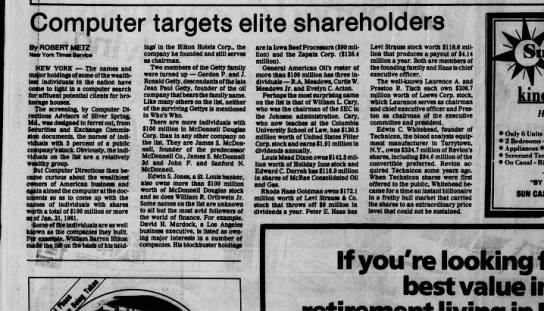 - Computer targets elite shareholders By ROBERT...