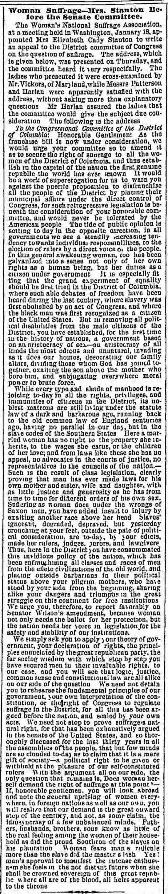 Elizabeth Cady Stanton addresses the Congressional Committee of the District of Columbia in 1869. - Woman Suffrage Sirs. Stanton Be tore the Senate...