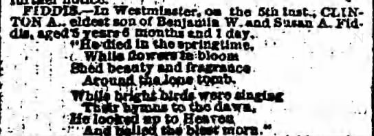 Death notice in The Sun 12 MAY 1869, Page 2, Column 2 - . . , . FIDDIS- FIDDIS- In Westmlmster, oa tho...