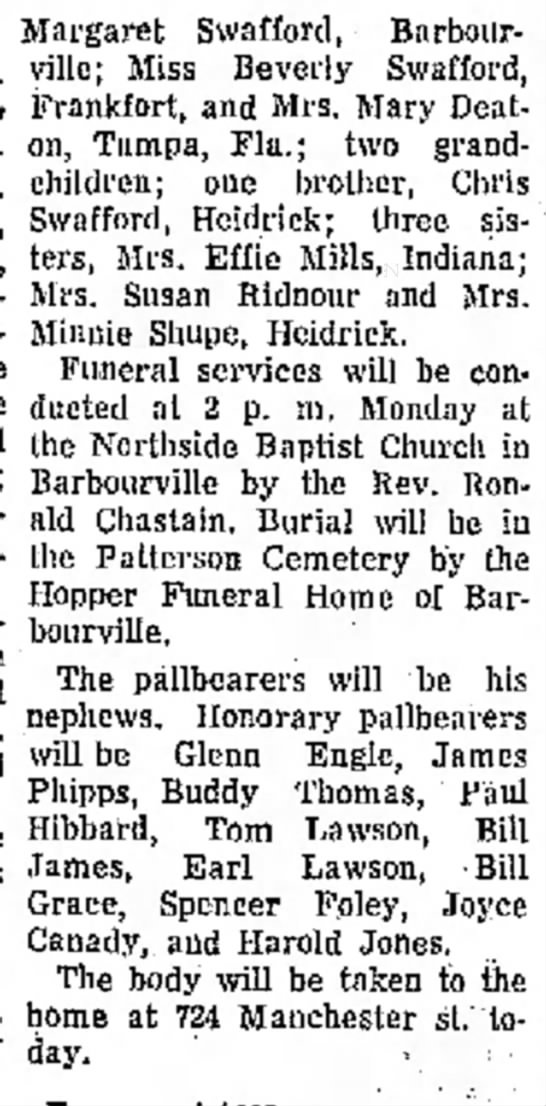 Charlie Swafford Obituary 19 October 1969 part 2 - Wednes- and Hab- at the the Margaret Swafford,...